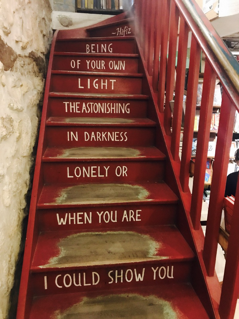 A staircase inside the iconic bookstore Shakespeare & Company
