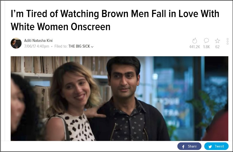 "Screenshot of article headline ""I'm Tired of Watching Brown Men Fall in Love With White Women Onscreen"""