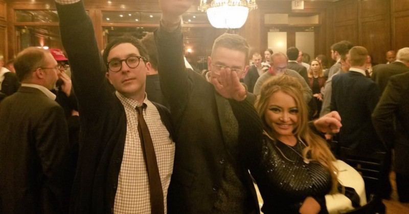 Photo of Tila Tequila doing a Nazi salute