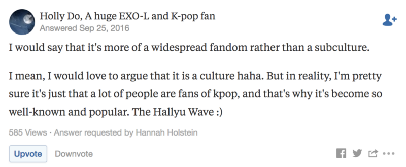 Screenshot of Quora post on K-pop