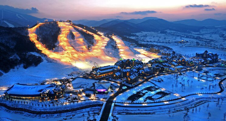 Aerial photo of Pyeongchang, South Korea