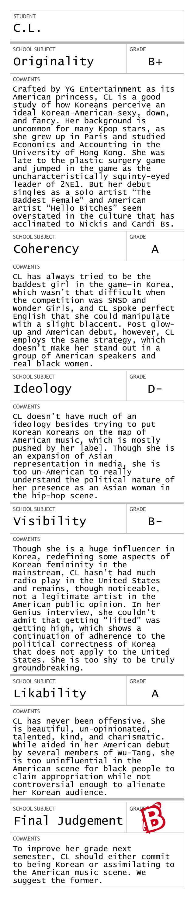 Report Card for C.L.