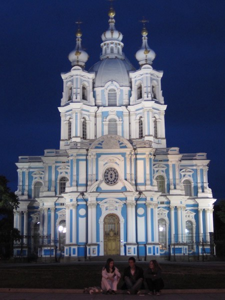 Photo of friends in front of Smolny Cathedral