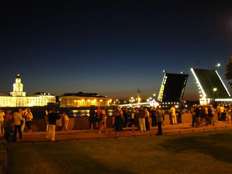 Raised bridge on the Neva River
