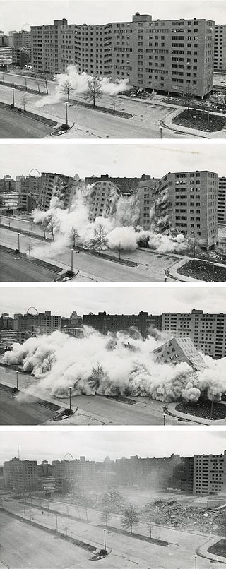 Photos of the demolition of Minoru Yamasaki's Pruitt-Igoe public housing projects