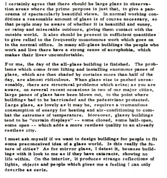 Image of Minoru Yamasaki's thoughts on majority-glass buildings