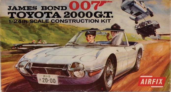 Image of a James Bond themed Toyota 2000GT model kit
