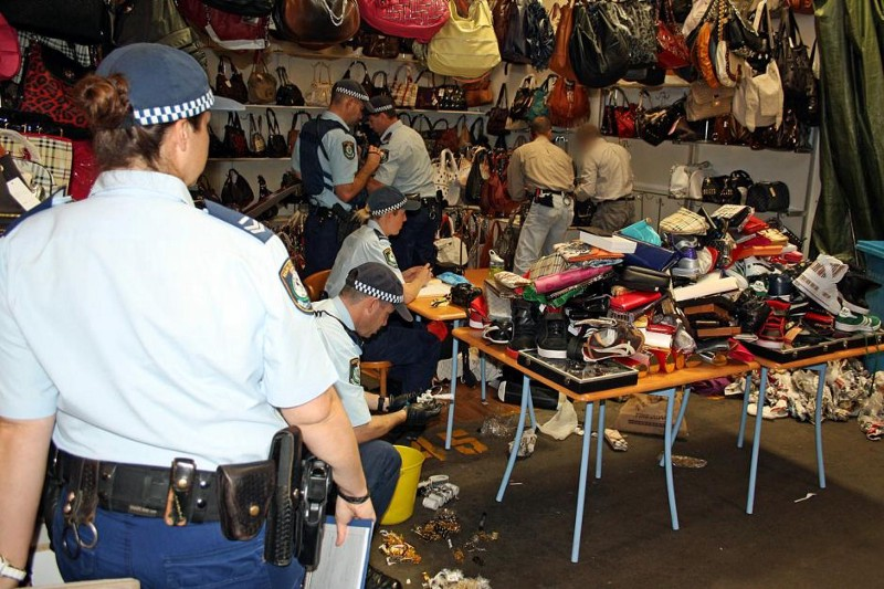Police in Sydney investigating a suspected counterfeit goods dealer