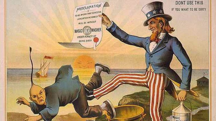 Image of Uncle Sam kicking out a caricature of a Chinese man