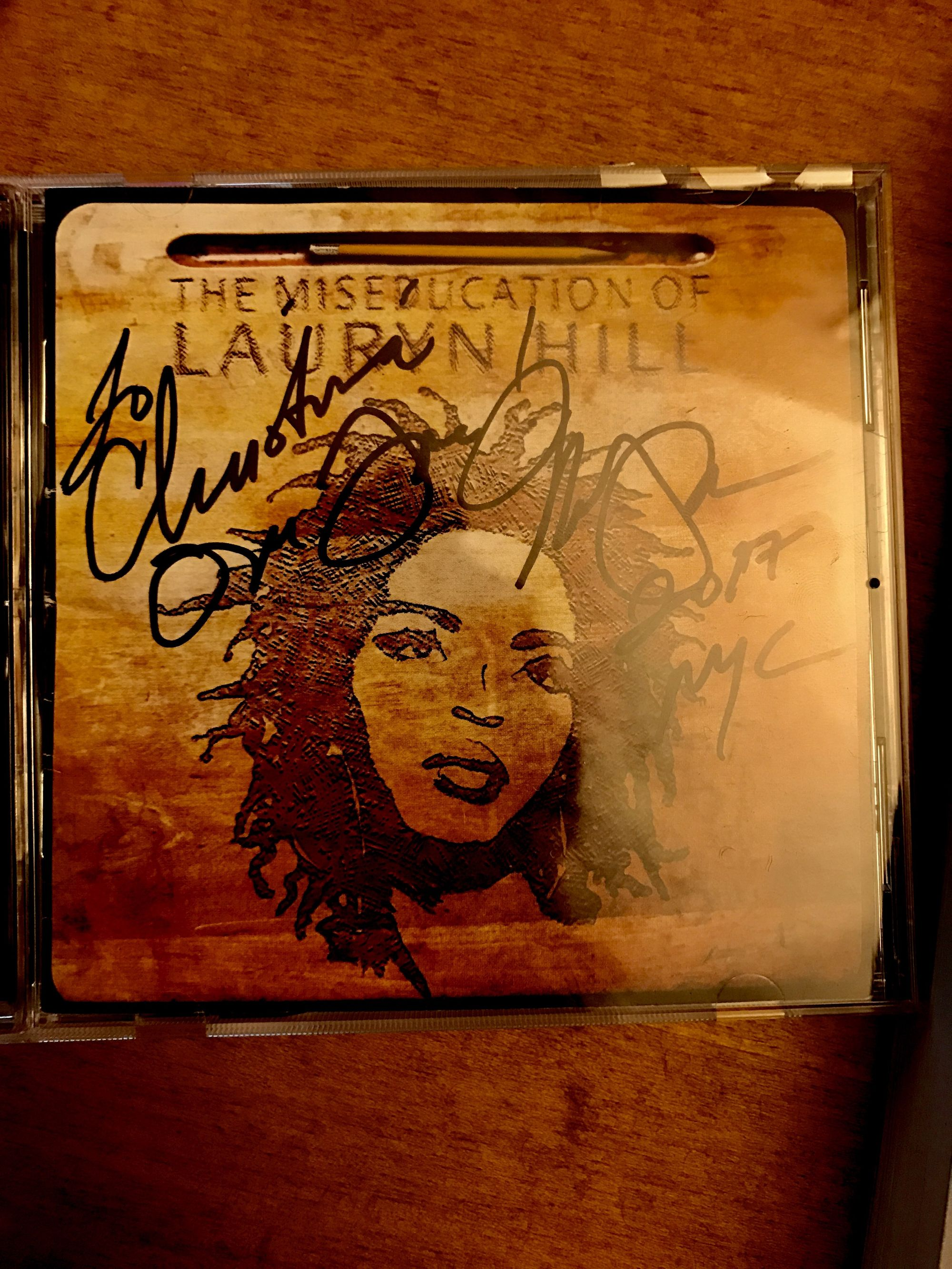 Christina's signed CD of Lauryn Hill's The Miseducation of Lauryn Hill