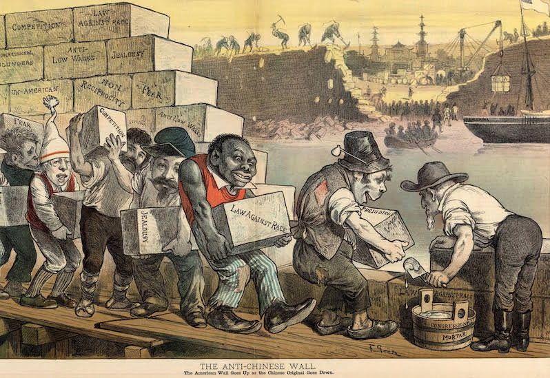 """The Anti-Chinese Wall"" political cartoon, Friedrich Graetz, Puck, 1882. (Library of Congress)"
