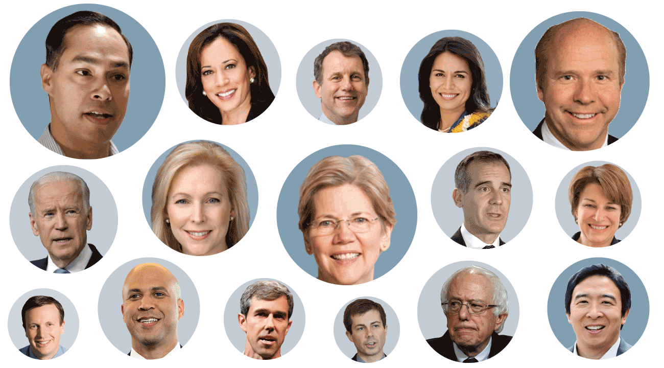 Image of many 2020 Democratic presidential candidates