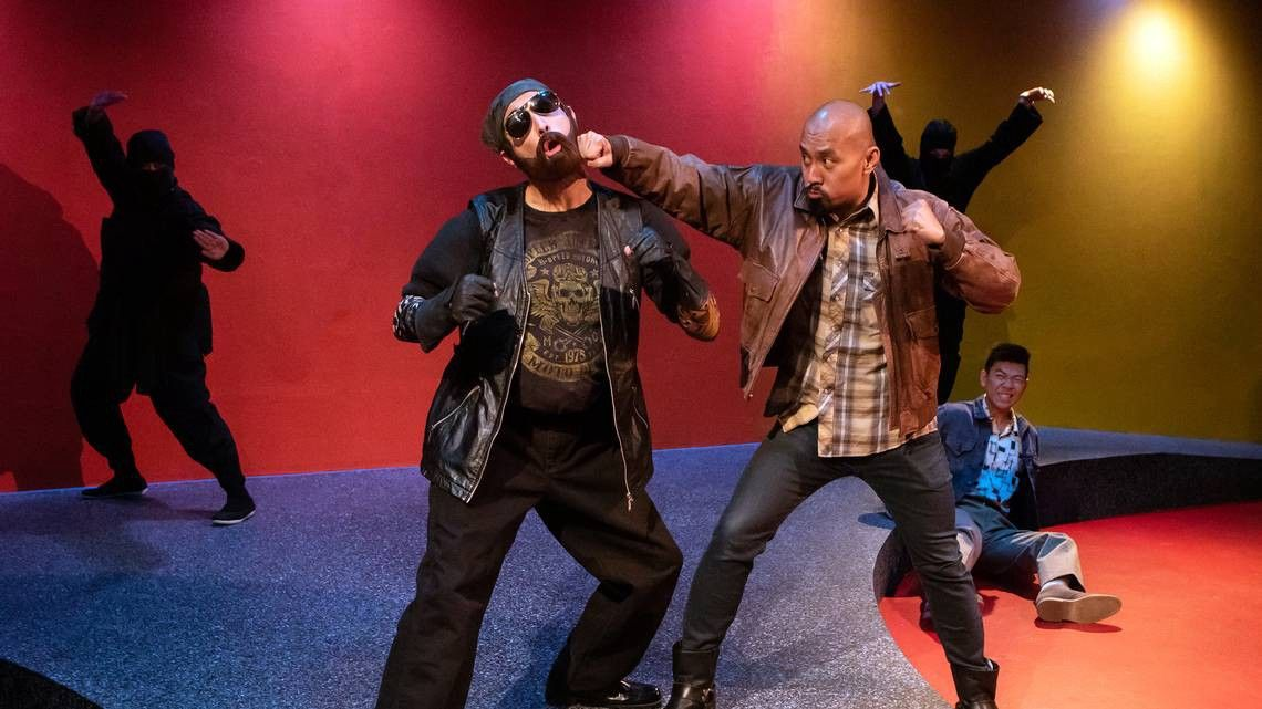 Biker fight scene in Capital Stage's Vietgone…with ninjas.