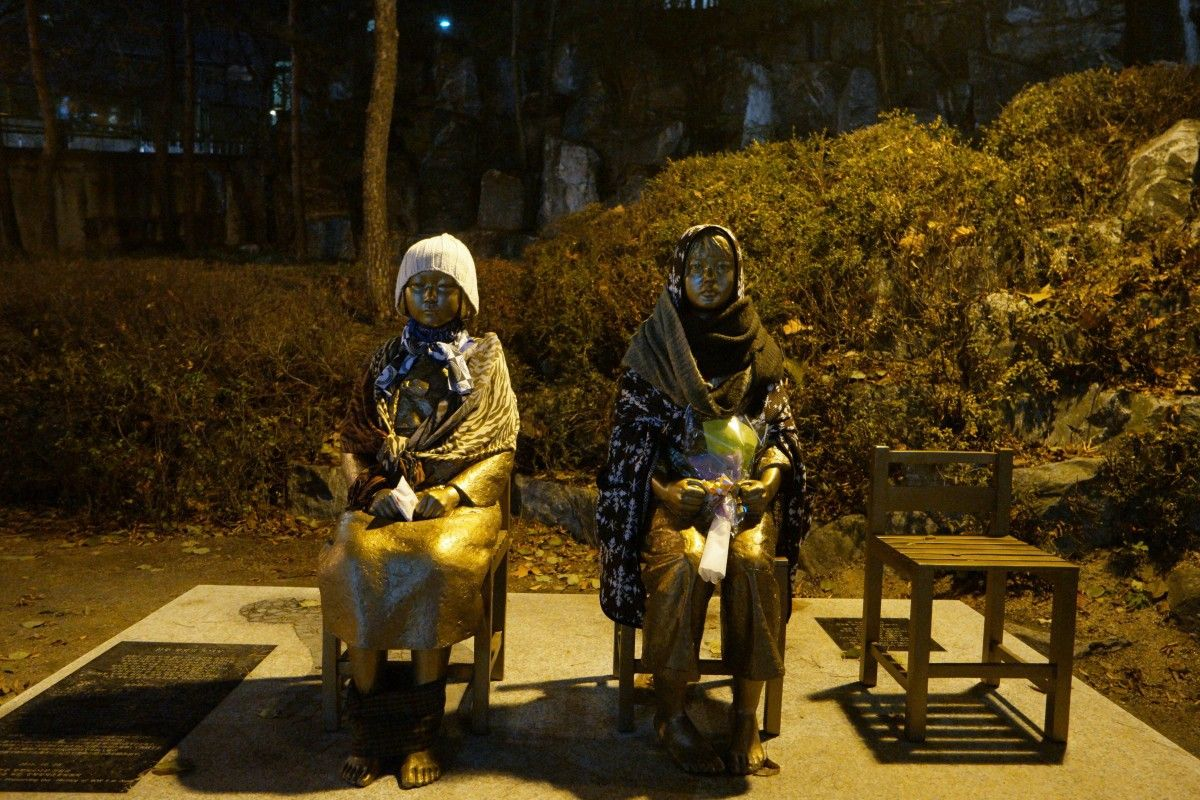 An image of statues commemorating the Korean Comfort Women