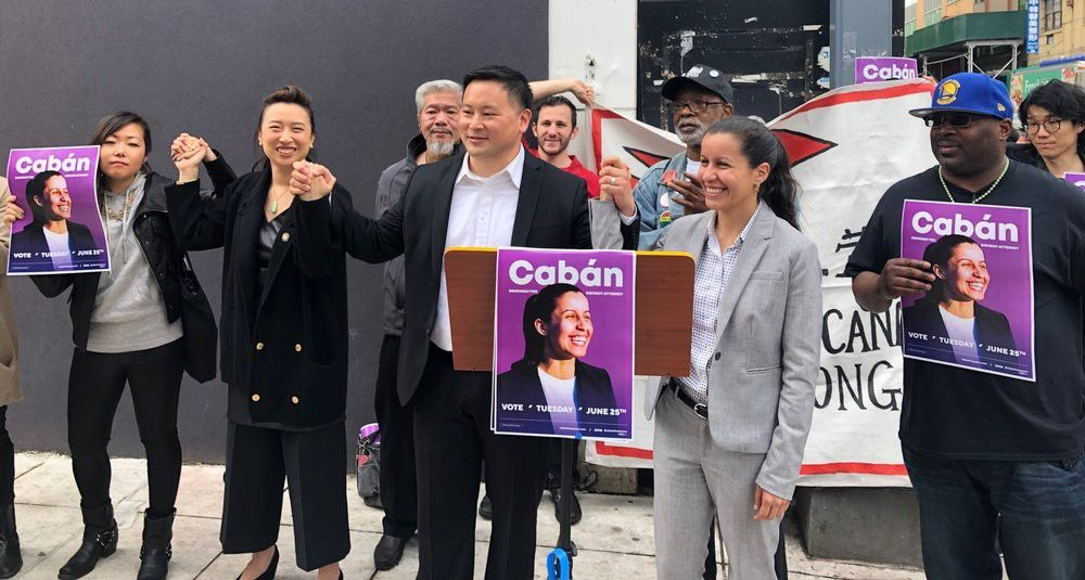 Ron T. Kim and Yuh-Line Niou campaigning for Queens DA candidate Tiffany Caban.