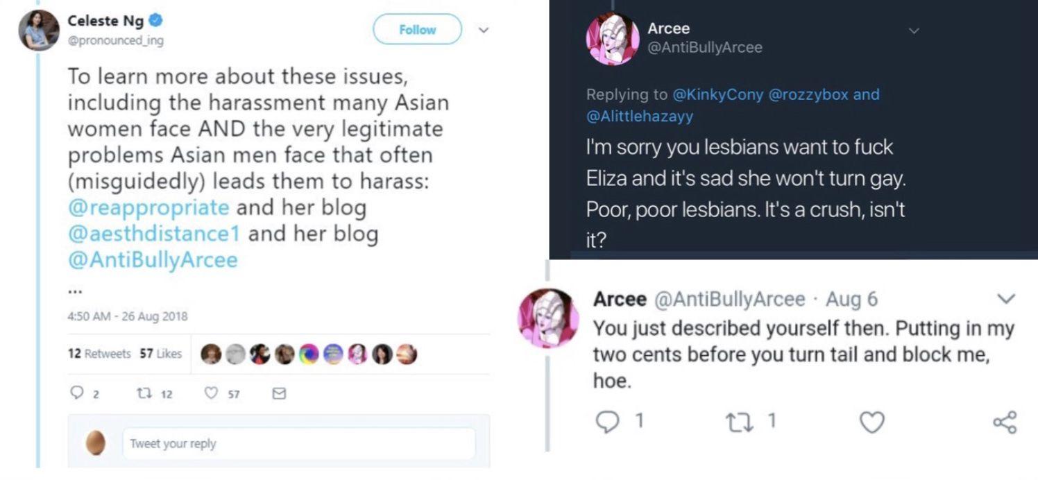 Screenshots of tweets