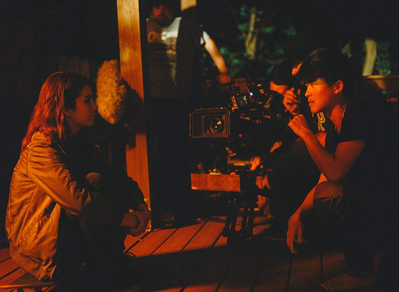 """Photo of Nichole Bloom and Dan Chen while shooting """"Ella"""""""