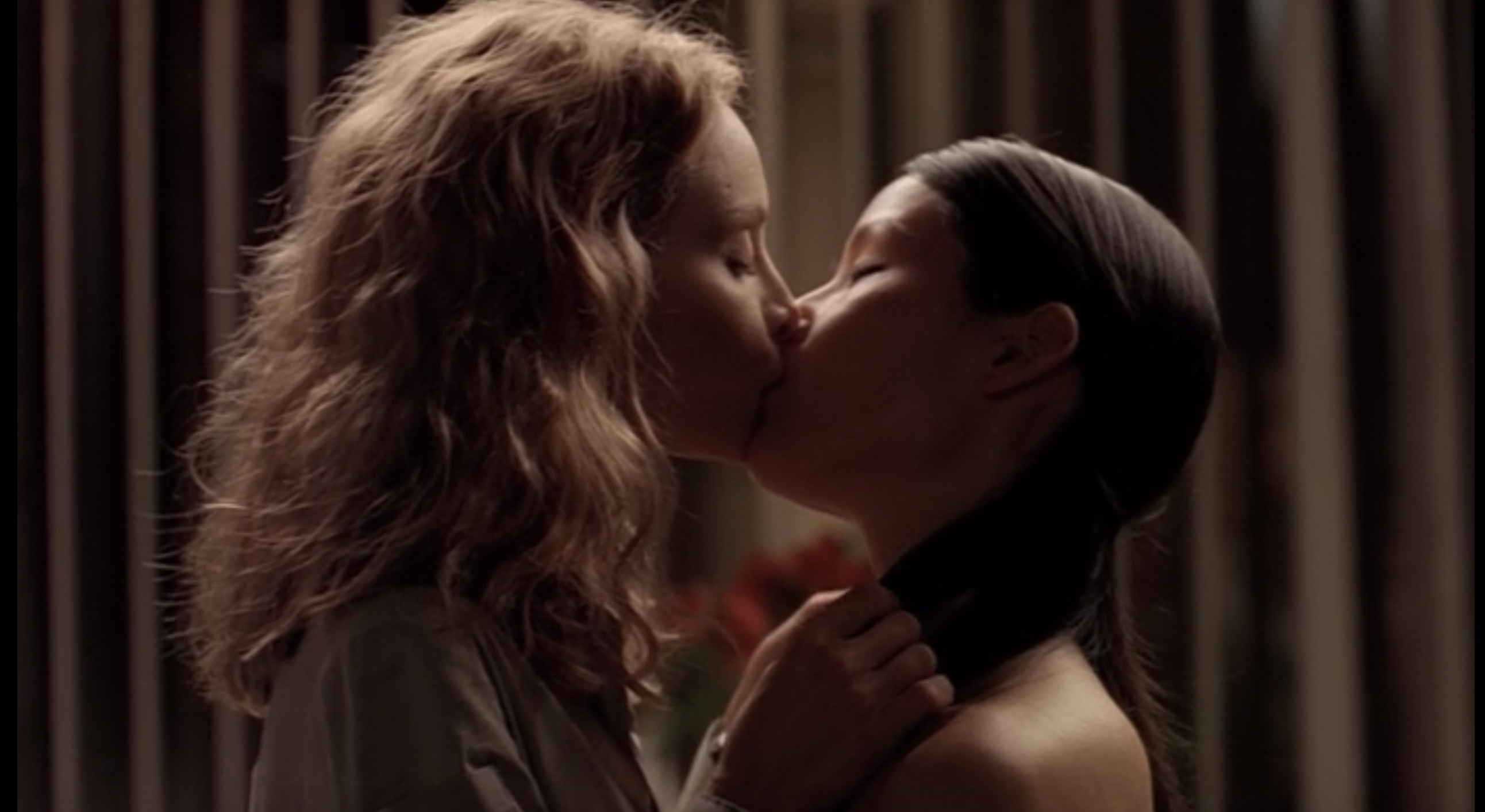"""Screenshot of Ally and Ling kissing from """"Ally McBeal"""""""