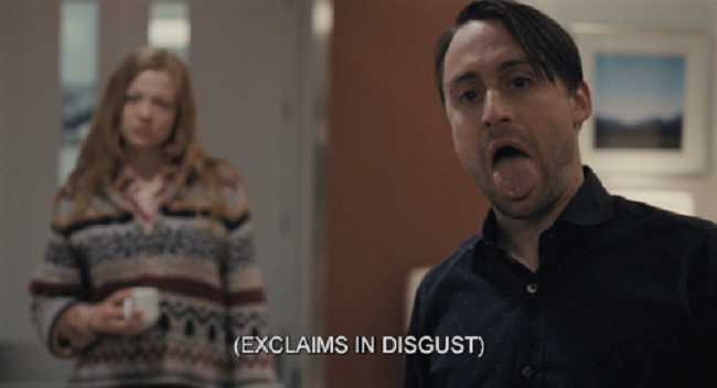 "An image of the character Roman Roy from Succession, with subtitles indicating ""exclaims in disgust"""