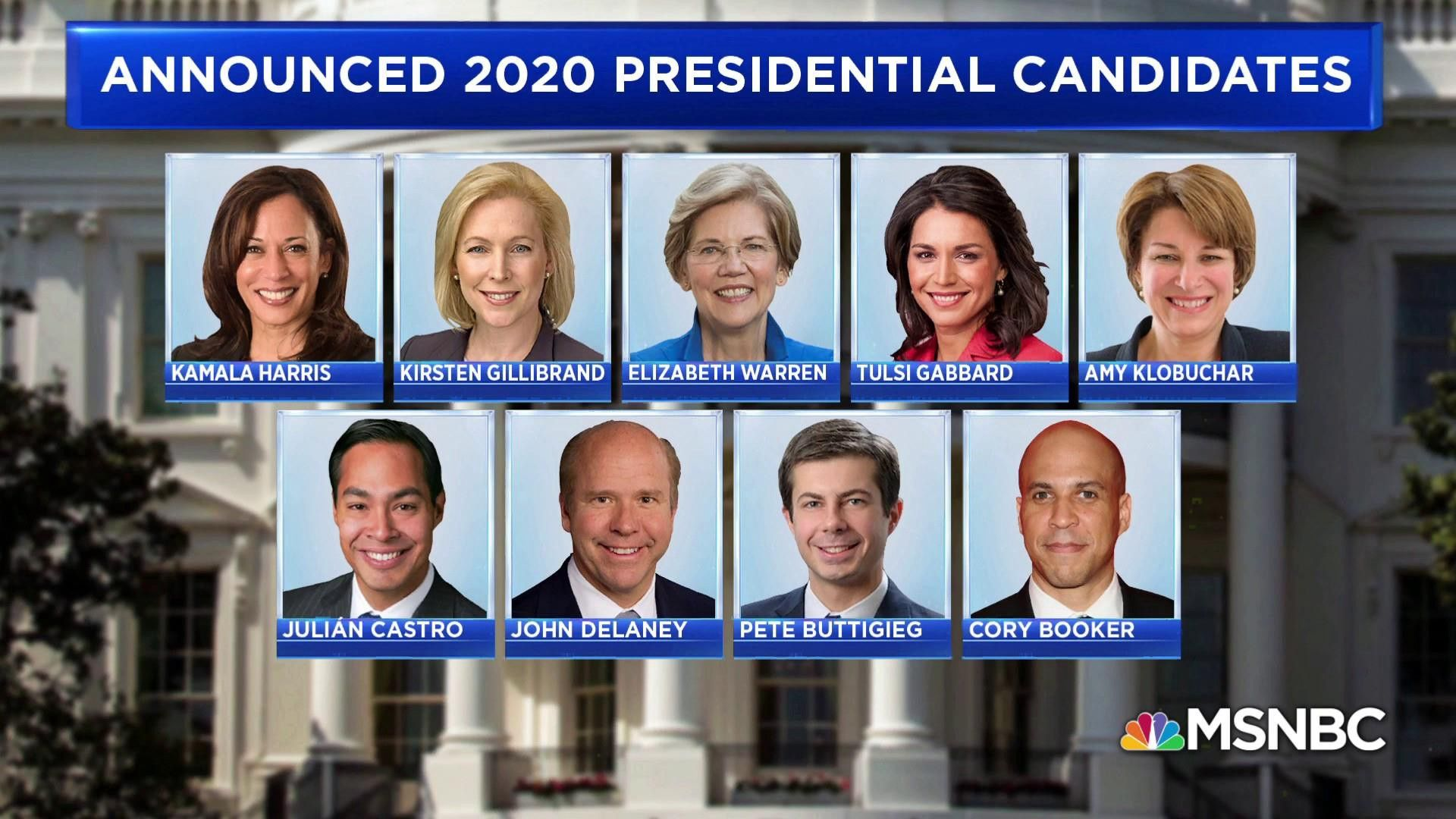 Image of select 2020 Democratic presidential candidates