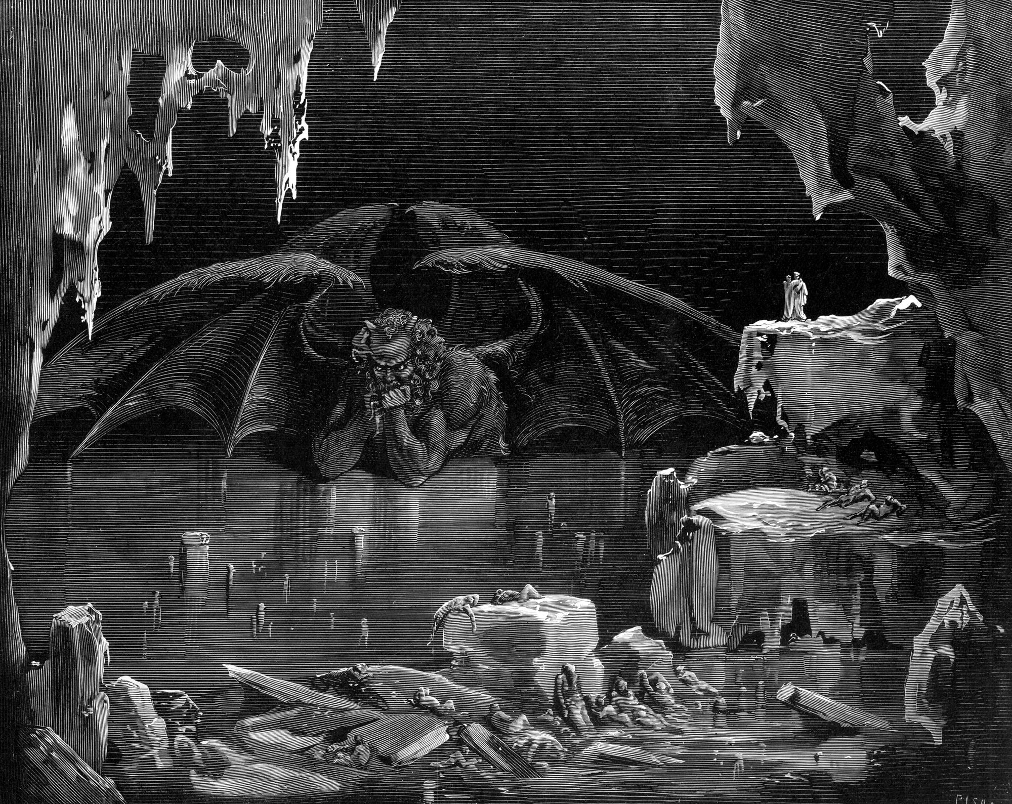 Drawing of Dante, Virgil, and Devil in Hell by Gustave Doré